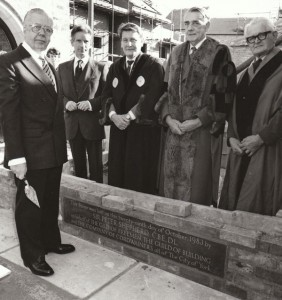 29 October 1983: Sir Peter Shepherd lays the foundation stone for the Bedern Hall annexe, watched by, from left Mr Keith Groom chairman of the Bedern hall company, Mr Bill Bonney, master of the Guild of Builders, Mr Leslie Buckle, deputy master of the York Gild of Freemen and Mr Robert Stabler, deputy master of the Company of Cordwainers. (Photo: Yorkshire Evening Press)