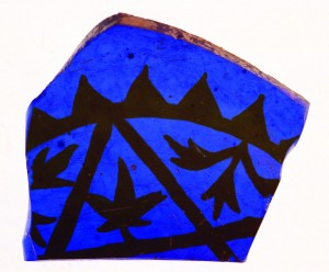 Medieval blue glass fragment from a bowl or goblet.